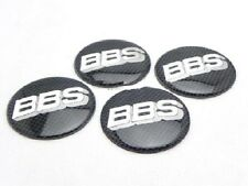 4x Sticker BBS Black Silver Carbon Fiber Style Wheel Center Hub Caps Badge 68MM