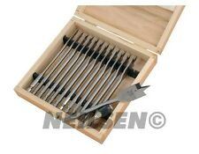 13pc Wood Drill Bit Set Flat Spade Hex Shank 150mm Length 6mm Upto 25mm Woodwork