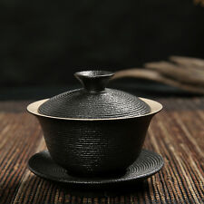 Pottery Gaiwan Chinese porcelain tea set 120ml black beautiful cup China sealed
