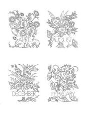 12 Flowers of the month for a Quilt or Pillow 7302 Iron on Embroidery Transfer