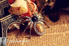 Lady's Vintage Bronze Gothic Punk Fashion Jewellery Spider Rhinestone Necklace