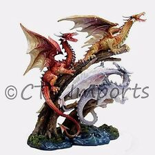 "9"" Inch Roaring Triple Dragon Statue Climbing on Tree Limbs Fantasy Figurine"