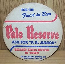 PALE RESERVE ~ VINTAGE BEER COASTER ~ LOT # 9 ~ READING, PA ~FROM OLD COLLECTION