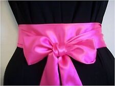 "NEW 2.5""X60"" BRIGHT NEON PINK SATIN SASH BELT SELF TIE BOW FOR PARTY FANCY DRESS"