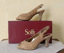 SOFFT Scafati Gold Natural Cork Slingback Heels Comfort Shoes Cute New 7.5/38.5