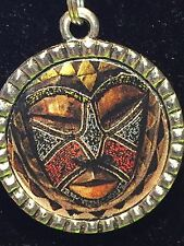 "BIN Tribal Indian African Mask Maasai Charm Tibetan Silver 18"" Necklace AM12"