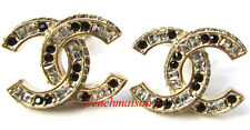 AUTHENTIC CHANEL CC Logo Earrings Gold CRYSTALS ALL SIDES Sparkle New SOLD-OUT