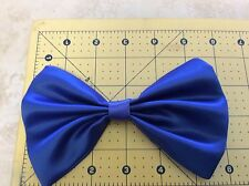 "NEW HANDMADE SATIN FABRIC DODGER BLUE HAIR BOW 3 1/2"" X 6"" ALLIGATOR CLIP WOMEN"