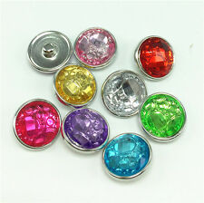 6pcs Mxied Coler 18mm snaps Chunk Button FIT For NOOSA Charm Leather Bracelets