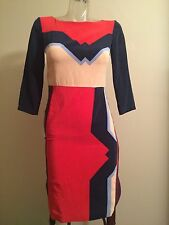 Tibi 780$ Colour Block Dress Geometric Picasso XS Xxs 0 Body Con