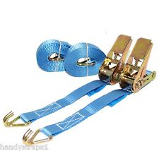 2 x 25mm 5 Meter Blue 800kg Ratchets Tie Down Straps Lorry Lashing Trailer