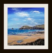 Constantine Bay Cornwall Original Oil Painting by Robin Beckett BIG 40cm X 40cm