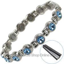 Femmes Bracelet Magnétique Ciel Bleu Couleur Faux Cristaux Santé
