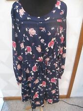 LAUREN CONRAD-NAVY/MULTI-COLOR-FLORAL- FIT AND FLARE PEASANT DRESS--SIZE-S-NWT