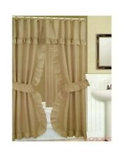 Double Swag Shower Curtain With Liner Set, Taupe, 70x72