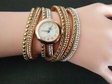 Beige Woman Stunning Rhinestone Wrap Fashion Bracelet Wristwatch Watch Montre