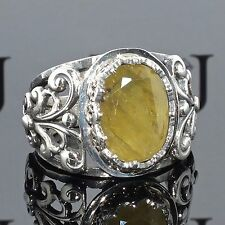 Silver Ring yellow Sapphire Sterling 925 unique handcrafted Mens Jewelry Saphir