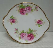 "AMERICAN BEAUTY Royal Albert 9 3/4"" TAB HANDLED CAKE PLATE Bone China England #2"