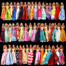 Random 6pcs Barbie Dresses Clothes Gown For Dolls Girl Children Xmas Gift B00