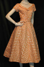 XS~S PALE ORANGE VTG 50s FRED PERLBERG ORGANDY EMBROIDERY VTG 50s PARTY DRESS
