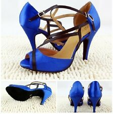 Blue Satin Latin Dance Shoes Adult Women's Ballroom Dancing Shoes Soft Outsole