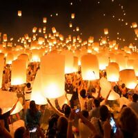 10/20/30/50x Paper Chinese Lanterns Sky Fly Candle Lamp For Wish Party Wedding