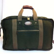 Vintage Tumi Dakota Green canvas and leather duffle carry-on weekender bag