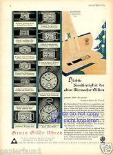 Taschenuhr Alpina Gruen Gilde XL Reklame von 1929 Armbanduhr Uhrenfabrik Werbung