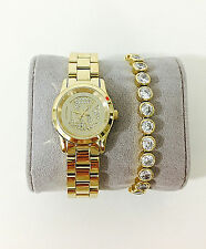 NWT Set of Michael Kors Women's Gold Watch & Bracelet MINI RUNWAY MK3669 $375