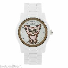 NEW-SPROUT WHITE CORN RESIN BRACELET+DIAMOND ACCENTED OWL DIAL WATCH SC/5000MPWT