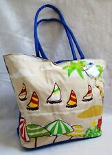 New Palms Sailboats Print Blue White Yellow Green Fabric Beach Bag Lg Tote