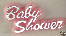48 pcs Plastic Cake Topper Baby Shower Sign Pink with Silver Favor Decorations