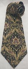 Sterling & Hunt man made in USA Mens silk Necktie Tie Brown Black Paisley