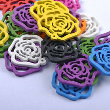 30pcs Mixed Color Roses Wood Beads Jewelry Make Findings 24MM B457