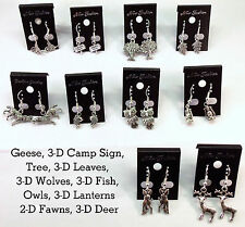 Lot of (10) Pairs Earrings DEER HUNTING PARTYCABIN WOODS CAMP FISH Outdoor Party