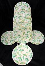 8 Elegant Royal Chelsea Luncheon Plates * Green Flowers Leaves Gold Trim RCH56