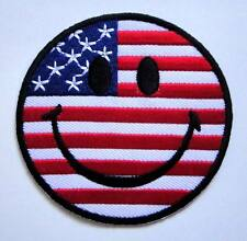 Smile Smiley Icon Emoticon USA Flag Embroidered Iron on Patch Free Postage