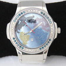 NYJEWEL Brand New Freeze Mens Diamond Watch with Metal Band 3 CT Great Gift!
