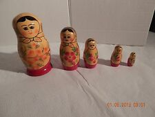 Vintage 5 Piece Wooden Russian USSR Nesting Matryoshka Dolls Made in USSR Tag