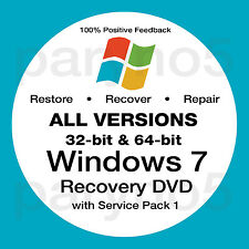 WINDOWS 7 ALL VERSIONS 32 & 64 Recovery Install Reinstall Restore DVD Disc Disk