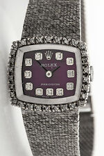 Vintage 1960s $12,000 1ct VS G Diamond PURPLE ROLEX 18k White Gold Ladies Watch