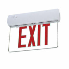 LED EDGE LIT EMERGENCY EXIT LIGHT SIGN Clear Face, Battery Back-Up, Single Face