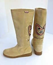 Juicy Couture wmns sz 7.5 beige suede  boots w/ sequined butterfly EUC