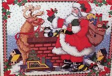 Bucilla SANTA ON THE ROOF Christmas Cross Stitch Picture Kit Rooftop,vintage