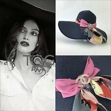 NEW Auth Chanel CC LOGO Wide Brim Floppy Fedora Trilby Straw Hat One Size S M