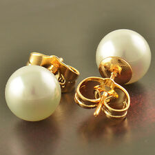 Fashion 14K Solid Gold Plated Pearl Women's Stud Earrings 6mm Free Shipping