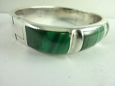 "SALE! Bracelet HEAVY OLD Sterling Silver Malachite Taxco Mexico Hinged 6.5"" 64g"