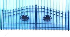 Ornamental Iron Driveway Entry Gate 16ft Wide Dual Swing. Handrails, Fence Bed