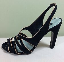 MARC JACOBS Damen Pumps Gr 38 Black High Heels 80er Sandalette Wildleder Luxus