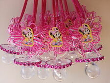 12 Baby Minnie Mouse Pacifier Necklaces Baby Shower Game Favors Prize Girl Decor